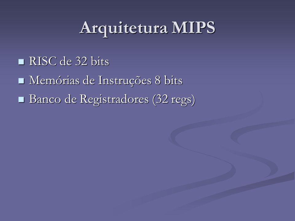 Arquitetura MIPS RISC de 32 bits RISC de 32 bits Memórias de Instruções 8 bits Memórias de Instruções 8 bits Banco de Registradores (32 regs) Banco de