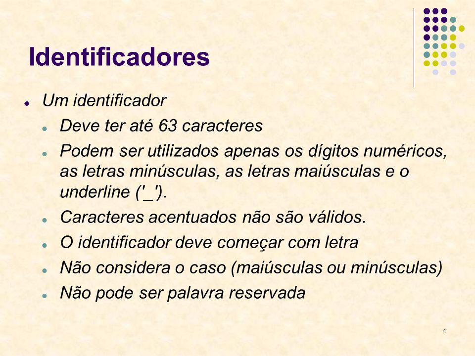 4 Identificadores Um identificador Deve ter até 63 caracteres Podem ser utilizados apenas os dígitos numéricos, as letras minúsculas, as letras maiúsculas e o underline ( _ ).