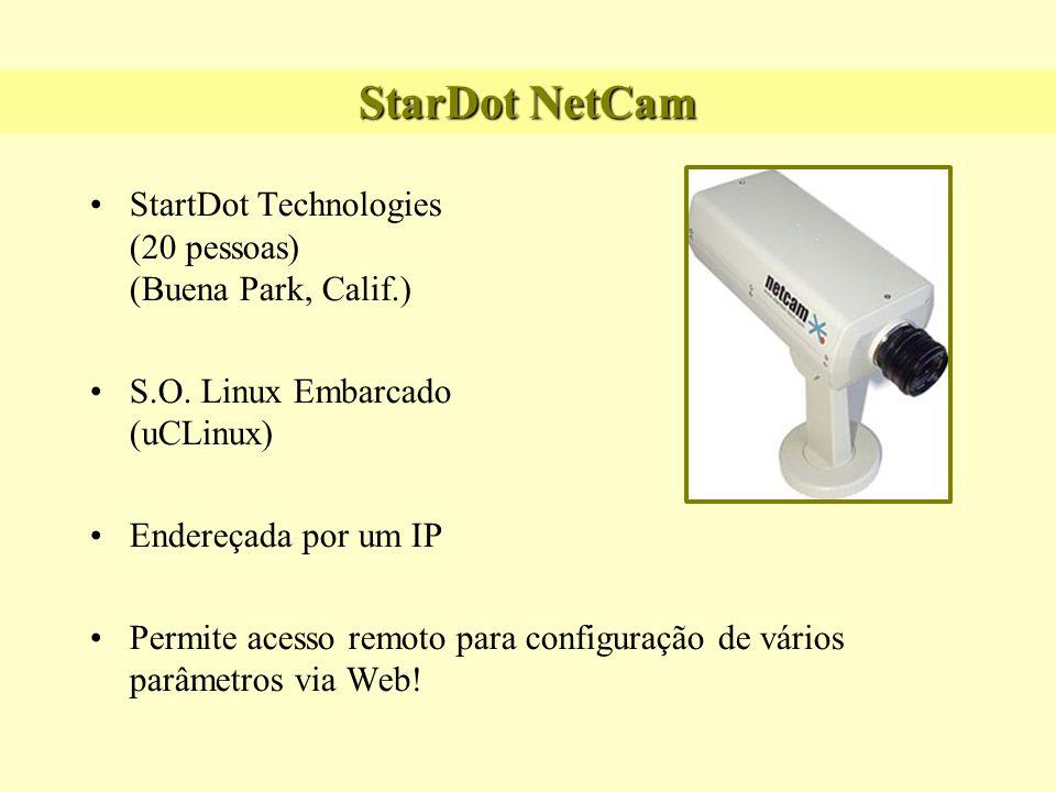 StarDot NetCam StartDot Technologies (20 pessoas) (Buena Park, Calif.) S.O. Linux Embarcado (uCLinux) Endereçada por um IP Permite acesso remoto para
