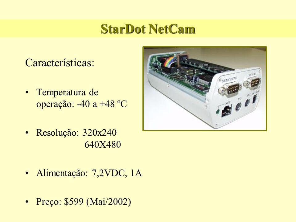 StarDot NetCam Características: Temperatura de operação: -40 a +48 ºC Resolução: 320x240 640X480 Alimentação: 7,2VDC, 1A Preço: $599 (Mai/2002)