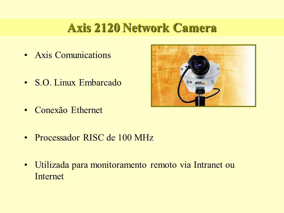 Axis 2120 Network Camera Possui um sistema inteligente para detecção de movimento, podendo notificar via e-mail ou enviar imagens para determinado local Dedicada para uso externo, encapsulada em um estojo de metal Funciona a 10/100 Megabits: Capaz de transmitir vídeo full motion
