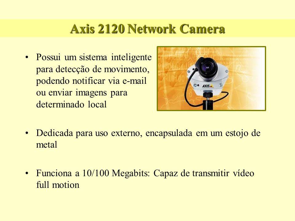 Axis 2120 Network Camera Algumas Features: Built-in Web Server e Web Interface (não necessita de um PC) Capacidade de captura de 30 frames (NTSC) ou 25 frames (PAL) Rápida e fácil instalação (conectou e usou!)