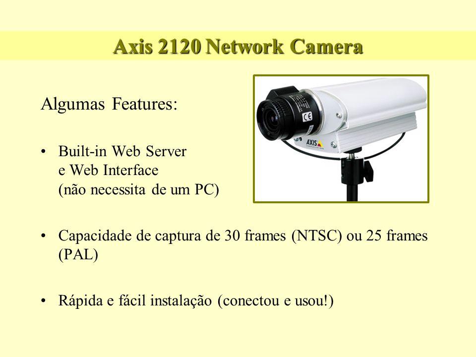 Axis 2120 Network Camera Algumas Features: Built-in Web Server e Web Interface (não necessita de um PC) Capacidade de captura de 30 frames (NTSC) ou 2