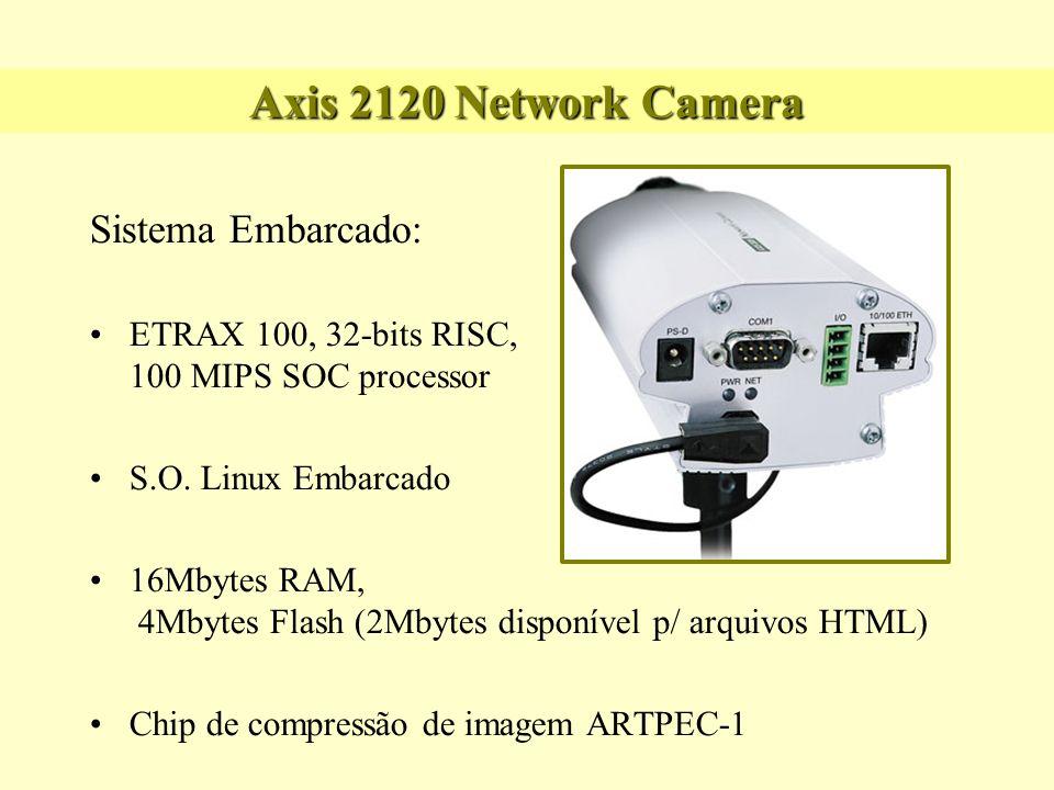 Axis 2120 Network Camera Sistema Embarcado: Alimentação: 12VAC Peso: +- 2 pounds Dimensão: 8,5 x 11,5x 5 pol Softwares: BOA Web Server, Login de usuários, FTP, Date & Time, Software de Imagens (size, color, compression, focus)