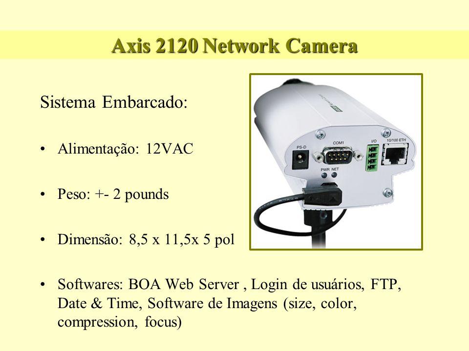 Axis 2120 Network Camera Sistema Embarcado: Alimentação: 12VAC Peso: +- 2 pounds Dimensão: 8,5 x 11,5x 5 pol Softwares: BOA Web Server, Login de usuár
