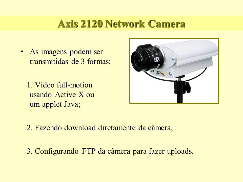 Axis 2120 Network Camera As imagens podem ser transmitidas de 3 formas: 1. Vídeo full-motion usando Active X ou um applet Java; 2. Fazendo download di