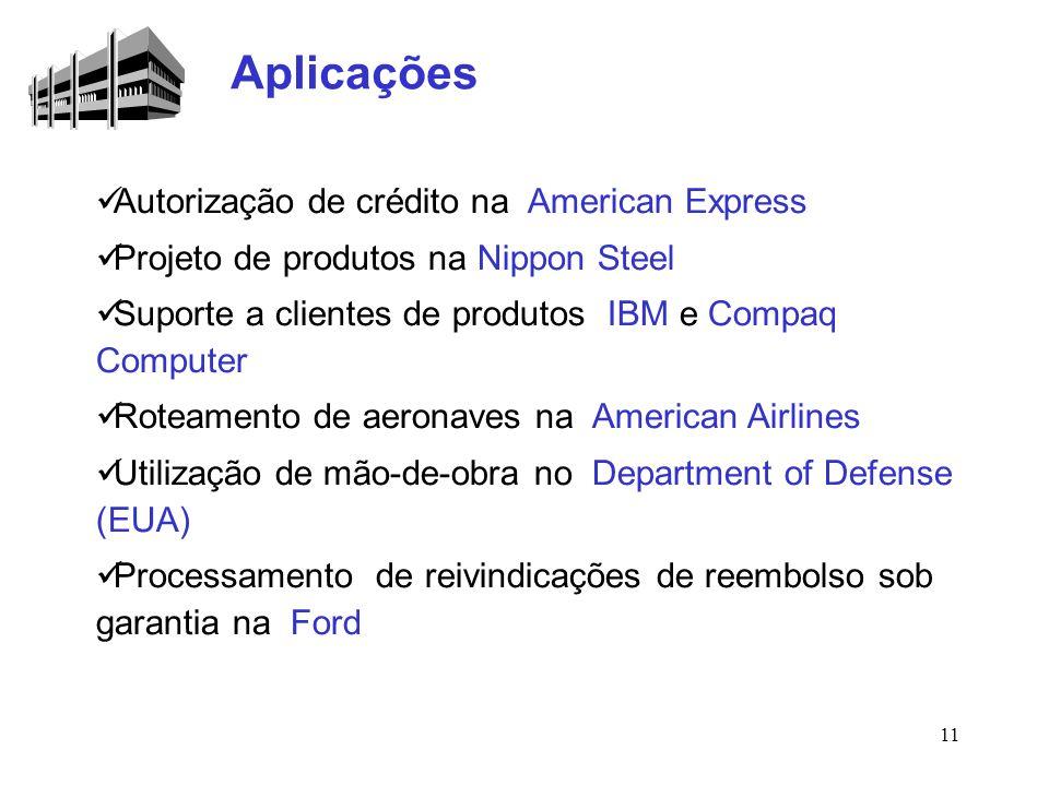 11 Autorização de crédito na American Express Projeto de produtos na Nippon Steel Suporte a clientes de produtos IBM e Compaq Computer Roteamento de a