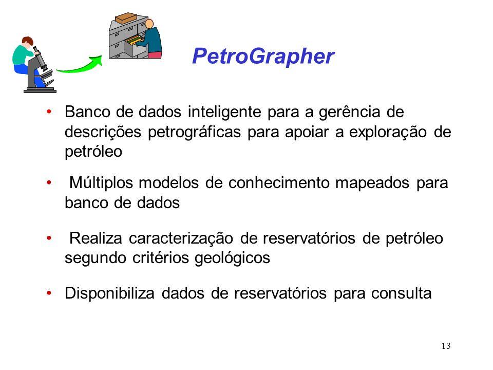 13 PetroGrapher Banco de dados inteligente para a gerência de descrições petrográficas para apoiar a exploração de petróleo Múltiplos modelos de conhe