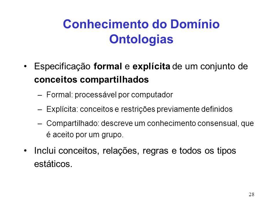 28 Conhecimento do Domínio Ontologias Especificação formal e explícita de um conjunto de conceitos compartilhados –Formal: processável por computador