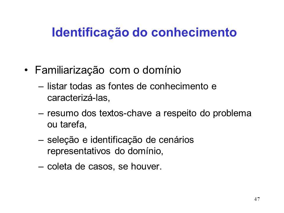 47 Identificação do conhecimento Familiarização com o domínio –listar todas as fontes de conhecimento e caracterizá-las, –resumo dos textos-chave a re