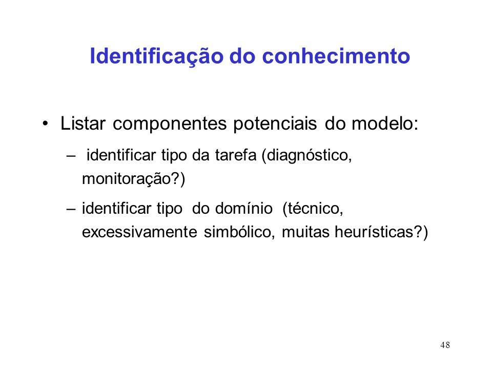 48 Identificação do conhecimento Listar componentes potenciais do modelo: – identificar tipo da tarefa (diagnóstico, monitoração?) –identificar tipo d