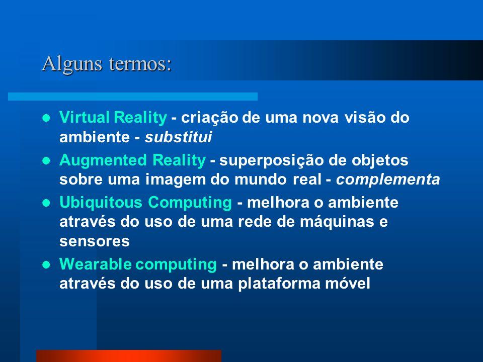 Alguns termos: Virtual Reality - criação de uma nova visão do ambiente - substitui Augmented Reality - superposição de objetos sobre uma imagem do mundo real - complementa Ubiquitous Computing - melhora o ambiente através do uso de uma rede de máquinas e sensores Wearable computing - melhora o ambiente através do uso de uma plataforma móvel