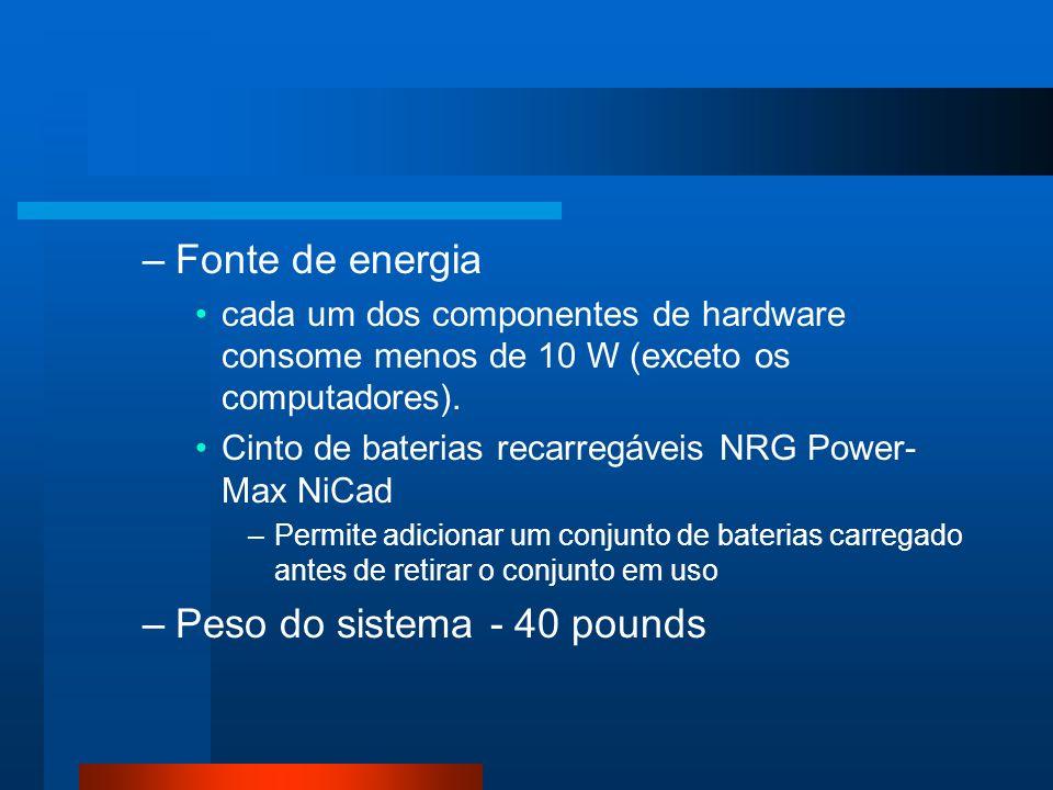 –Fonte de energia cada um dos componentes de hardware consome menos de 10 W (exceto os computadores).