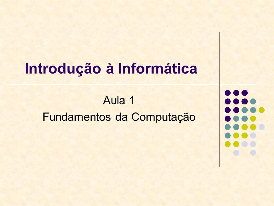 Introdução à Informática Aula 1 Fundamentos da Computação