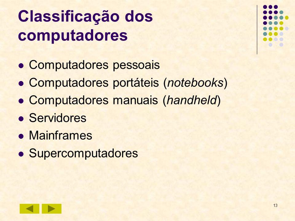 13 Classificação dos computadores Computadores pessoais Computadores portáteis (notebooks) Computadores manuais (handheld) Servidores Mainframes Super