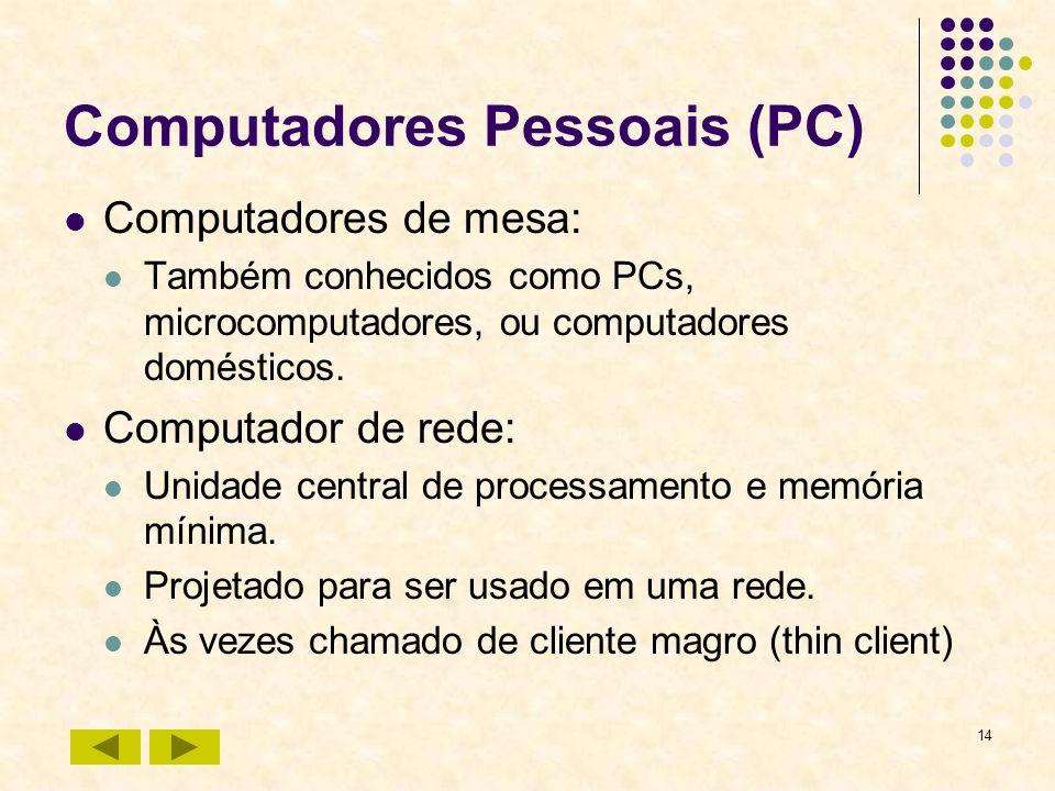 14 Computadores Pessoais (PC) Computadores de mesa: Também conhecidos como PCs, microcomputadores, ou computadores domésticos. Computador de rede: Uni
