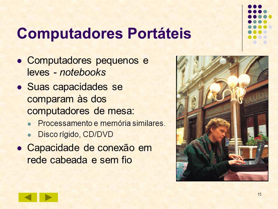 15 Computadores Portáteis Computadores pequenos e leves - notebooks Suas capacidades se comparam às dos computadores de mesa: Processamento e memória