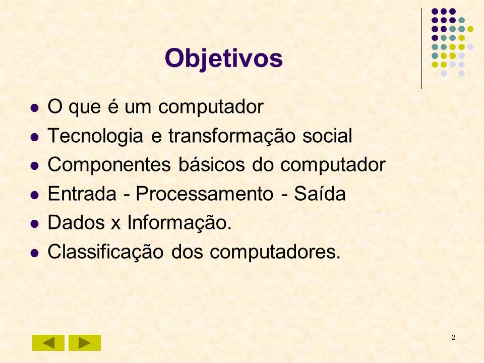 2 Objetivos O que é um computador Tecnologia e transformação social Componentes básicos do computador Entrada - Processamento - Saída Dados x Informaç