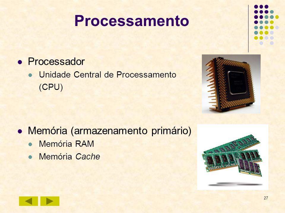 27 Processamento Processador Unidade Central de Processamento (CPU) Memória (armazenamento primário) Memória RAM Memória Cache