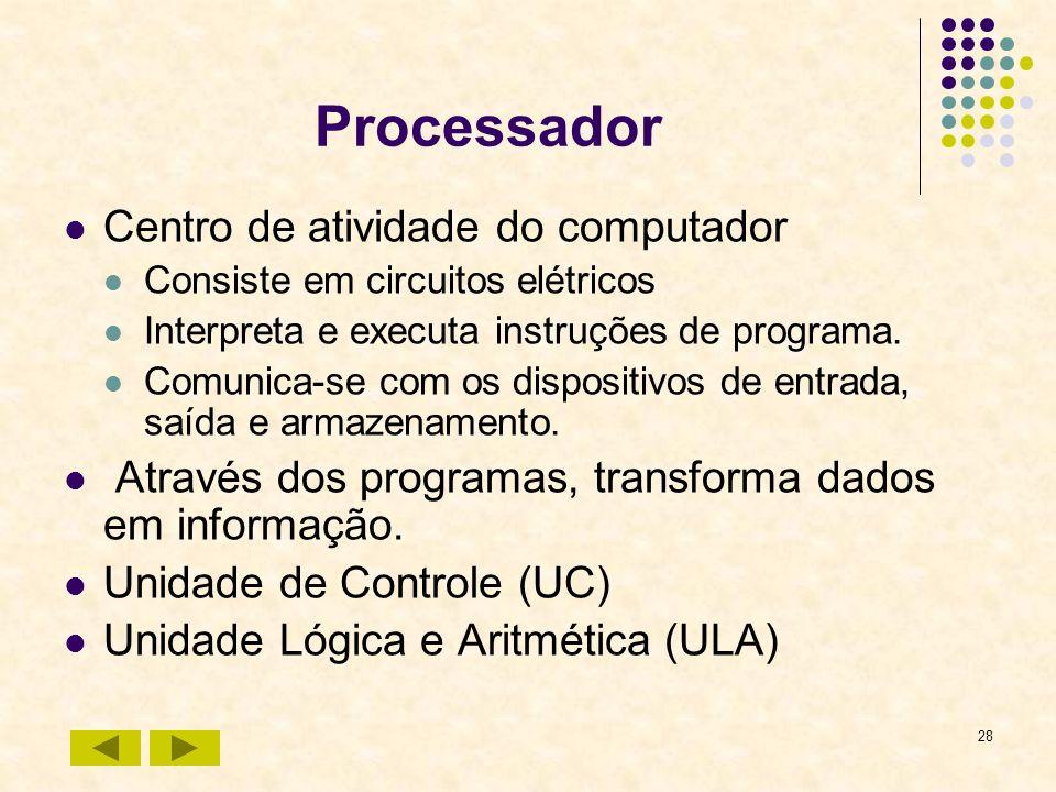 28 Processador Centro de atividade do computador Consiste em circuitos elétricos Interpreta e executa instruções de programa. Comunica-se com os dispo