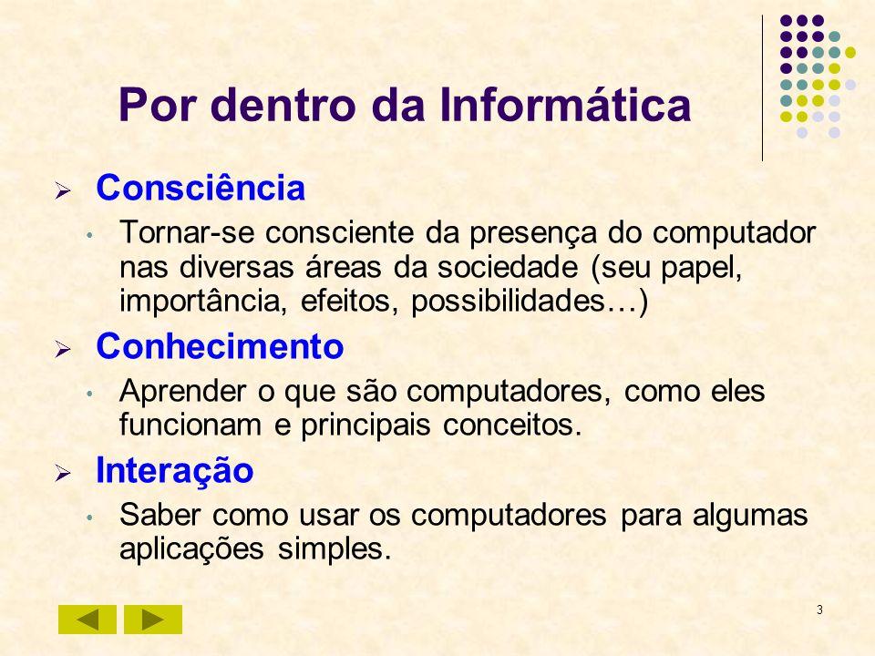 3 Por dentro da Informática Consciência Tornar-se consciente da presença do computador nas diversas áreas da sociedade (seu papel, importância, efeito