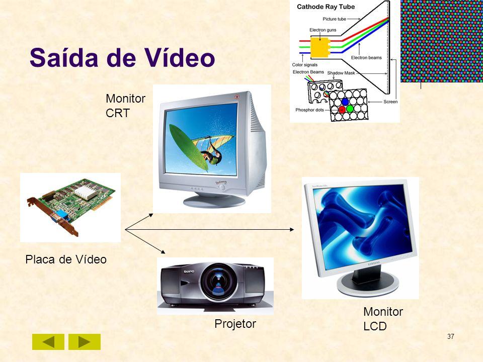 37 Saída de Vídeo Monitor CRT Monitor LCD Placa de Vídeo Projetor