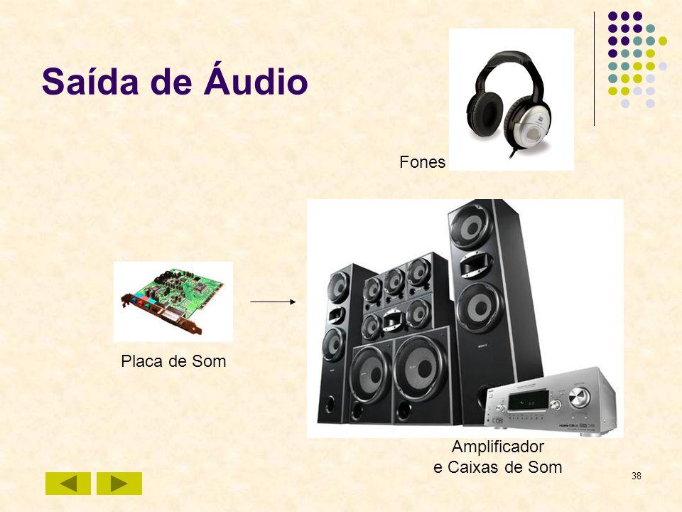 38 Saída de Áudio Placa de Som Amplificador e Caixas de Som Fones