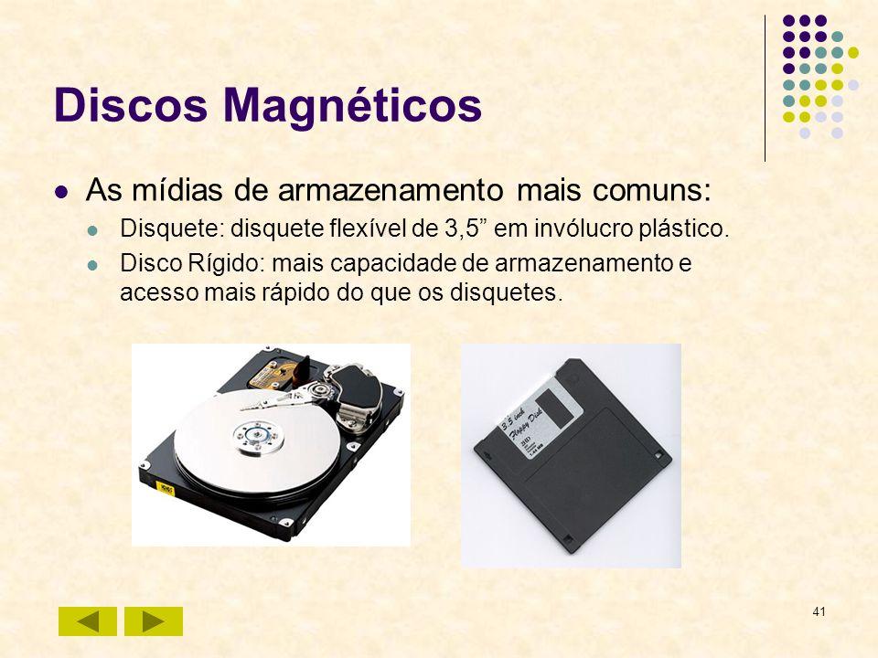 41 Discos Magnéticos As mídias de armazenamento mais comuns: Disquete: disquete flexível de 3,5 em invólucro plástico. Disco Rígido: mais capacidade d