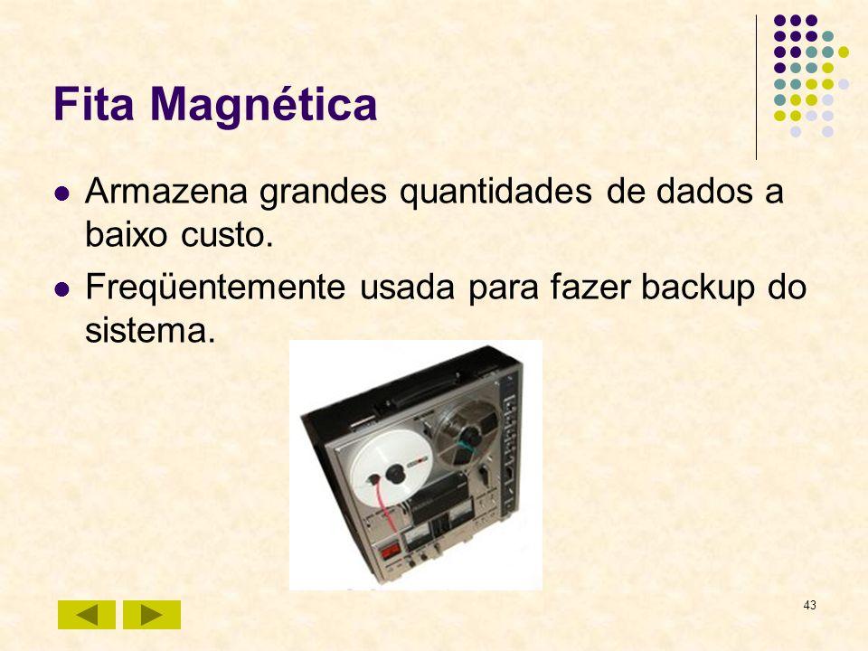 43 Fita Magnética Armazena grandes quantidades de dados a baixo custo. Freqüentemente usada para fazer backup do sistema.