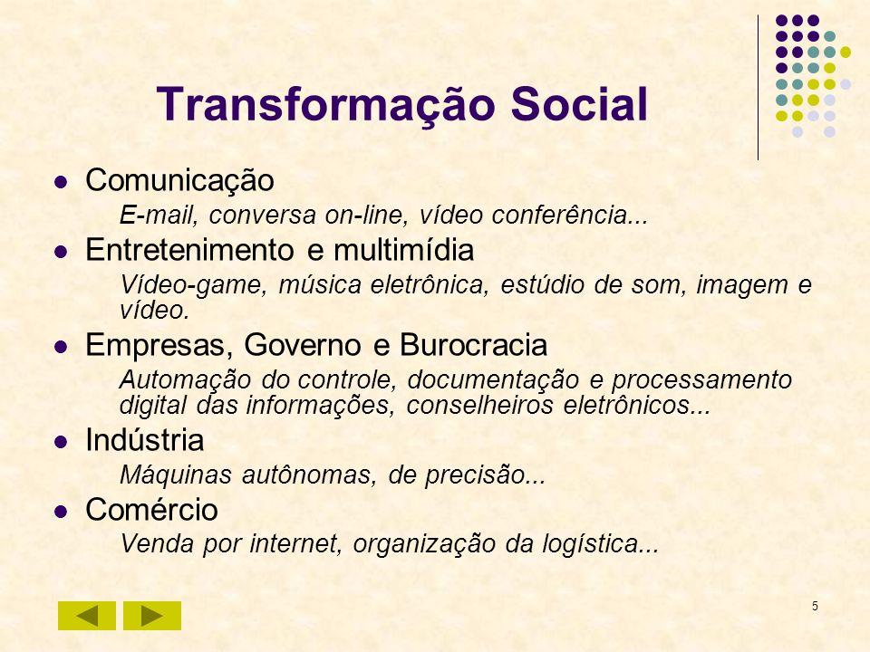 5 Transformação Social Comunicação E-mail, conversa on-line, vídeo conferência... Entretenimento e multimídia Vídeo-game, música eletrônica, estúdio d