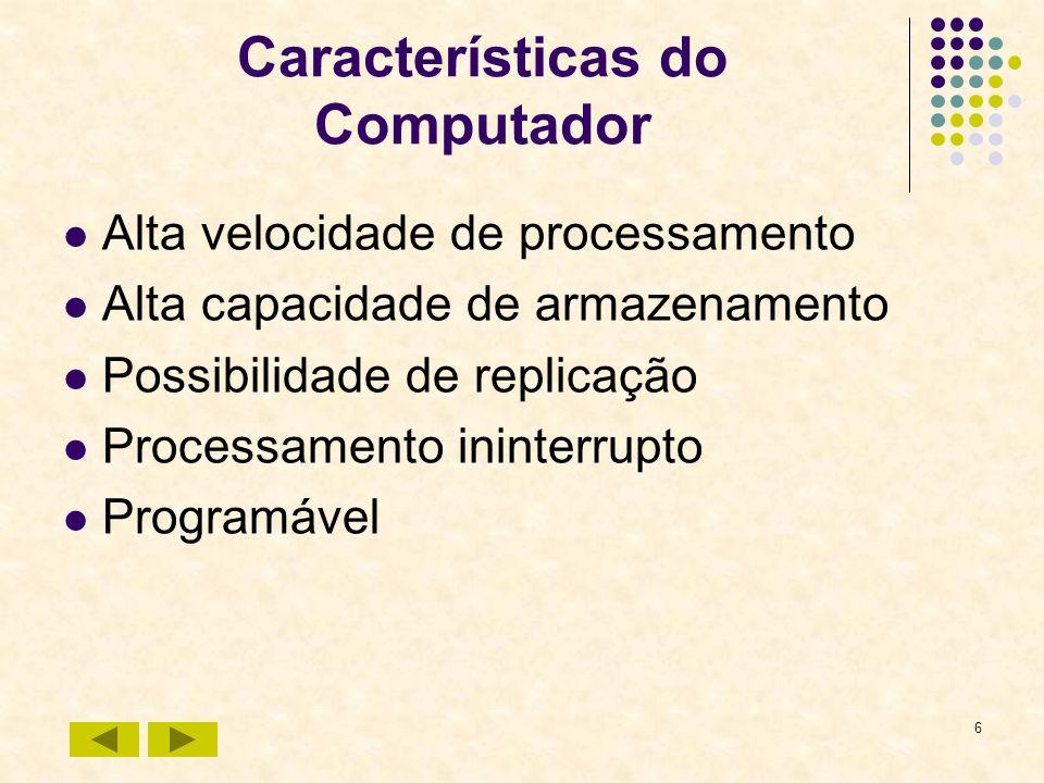 6 Características do Computador Alta velocidade de processamento Alta capacidade de armazenamento Possibilidade de replicação Processamento ininterrup