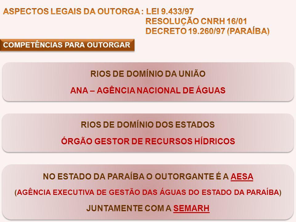 COMPETÊNCIAS PARA OUTORGAR RIOS DE DOMÍNIO DA UNIÃO ANA – AGÊNCIA NACIONAL DE ÁGUAS RIOS DE DOMÍNIO DA UNIÃO ANA – AGÊNCIA NACIONAL DE ÁGUAS RIOS DE D