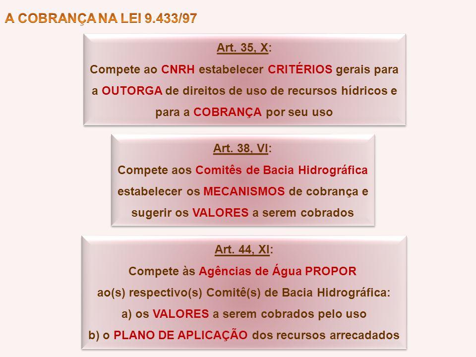 Art. 35, X: Compete ao CNRH estabelecer CRITÉRIOS gerais para a OUTORGA de direitos de uso de recursos hídricos e para a COBRANÇA por seu uso Art. 35,