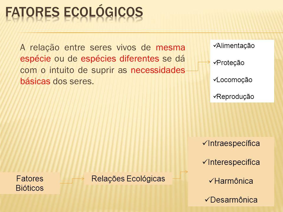 Fatores Bióticos Relações Ecológicas Intraespecífica Interespecifíca Harmônica Desarmônica A relação entre seres vivos de mesma espécie ou de espécies