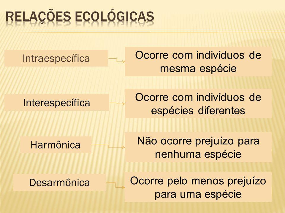 Intraespecífica Interespecífica Harmônica Desarmônica Ocorre com indivíduos de mesma espécie Ocorre com indivíduos de espécies diferentes Não ocorre p