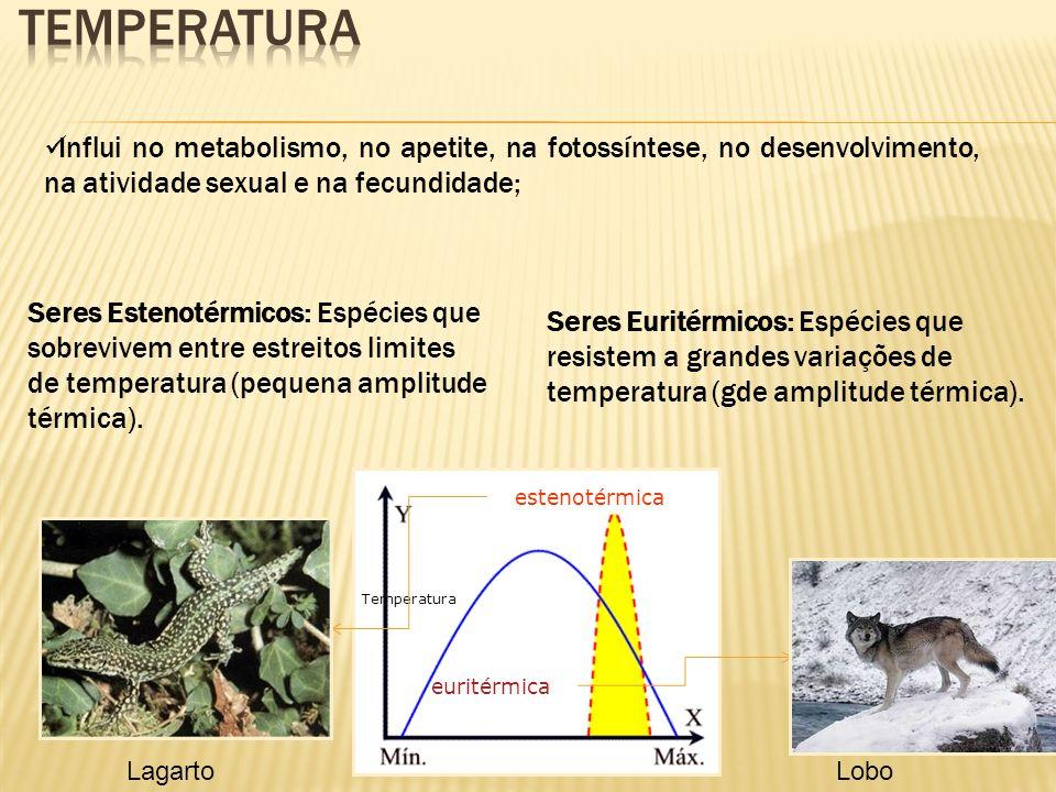 Seres Estenotérmicos: Espécies que sobrevivem entre estreitos limites de temperatura (pequena amplitude térmica). Seres Euritérmicos: Espécies que res