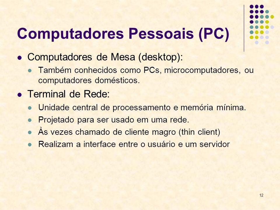12 Computadores Pessoais (PC) Computadores de Mesa (desktop): Também conhecidos como PCs, microcomputadores, ou computadores domésticos. Terminal de R