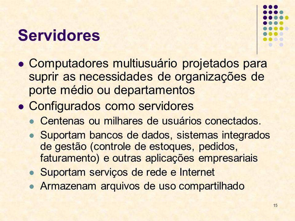 15 Servidores Computadores multiusuário projetados para suprir as necessidades de organizações de porte médio ou departamentos Configurados como servi