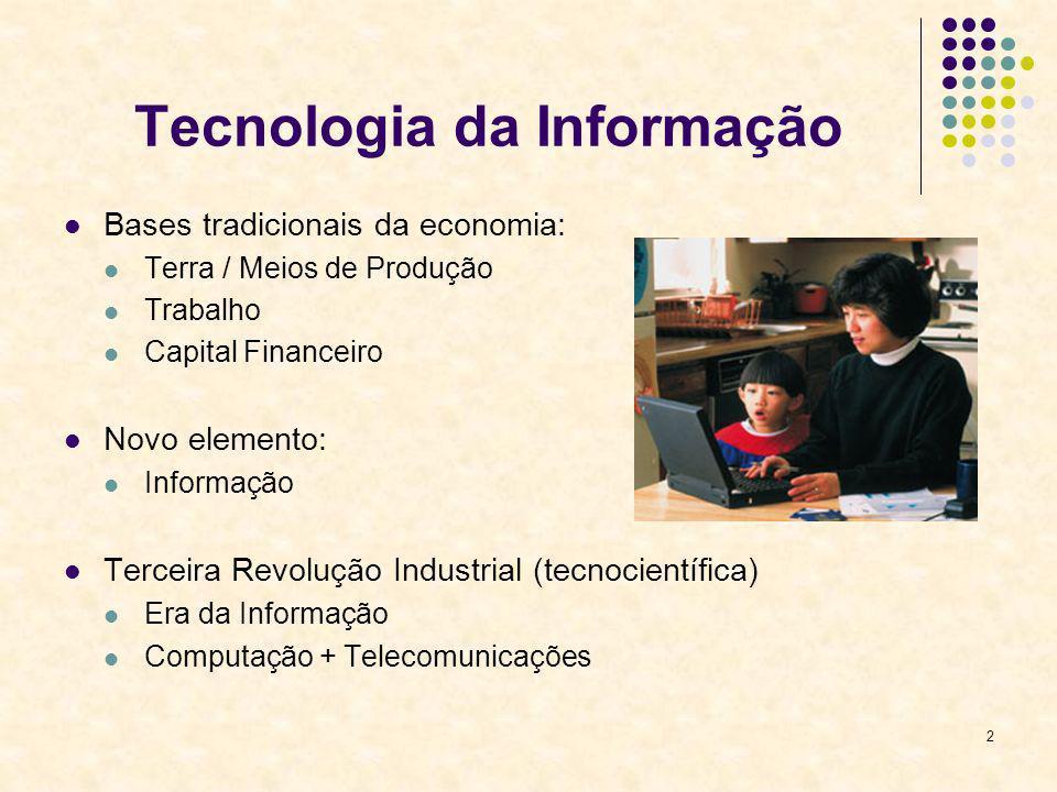 2 Tecnologia da Informação Bases tradicionais da economia: Terra / Meios de Produção Trabalho Capital Financeiro Novo elemento: Informação Terceira Re