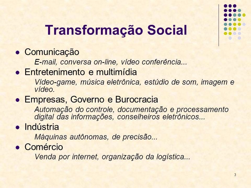 3 Transformação Social Comunicação E-mail, conversa on-line, vídeo conferência... Entretenimento e multimídia Vídeo-game, música eletrônica, estúdio d