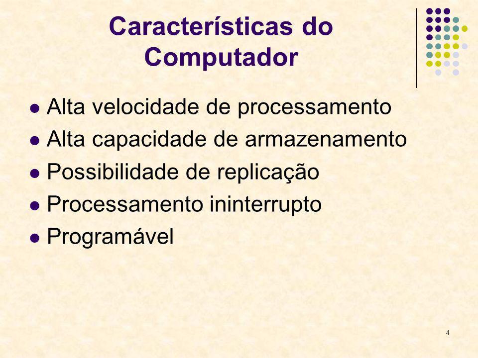 4 Características do Computador Alta velocidade de processamento Alta capacidade de armazenamento Possibilidade de replicação Processamento ininterrup