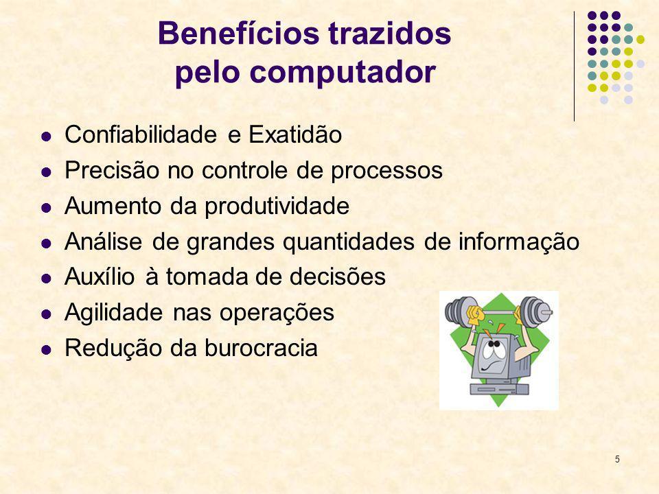5 Benefícios trazidos pelo computador Confiabilidade e Exatidão Precisão no controle de processos Aumento da produtividade Análise de grandes quantida