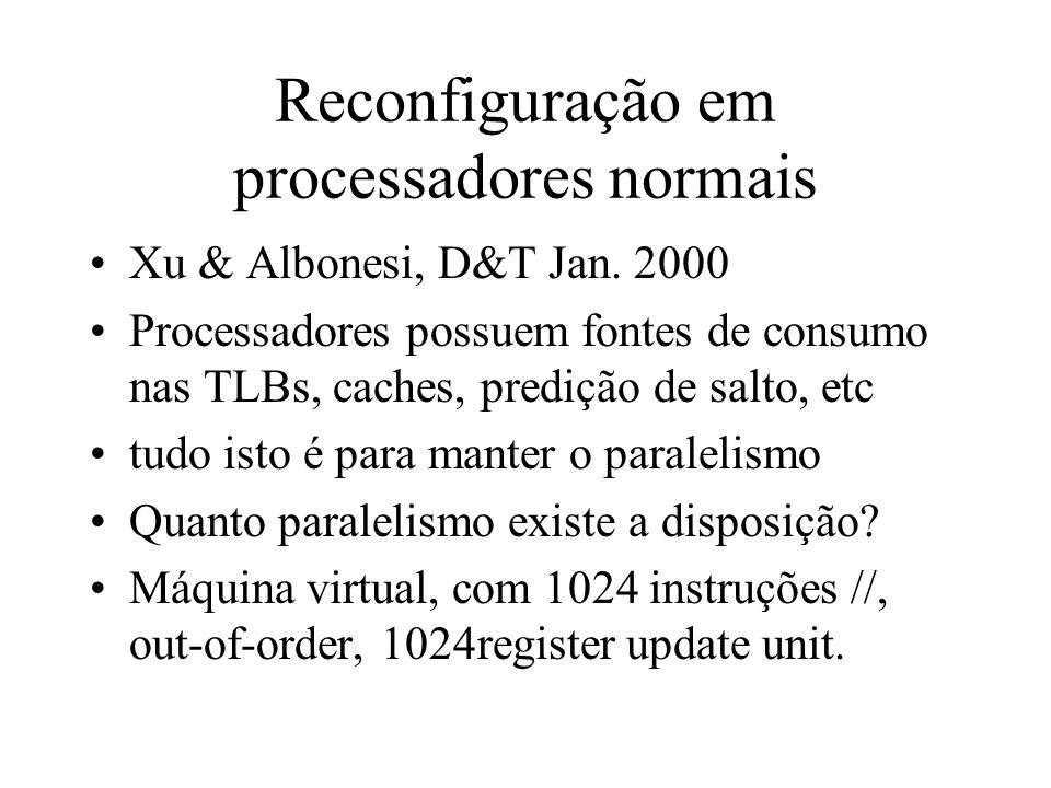 Reconfiguração em processadores normais Xu & Albonesi, D&T Jan. 2000 Processadores possuem fontes de consumo nas TLBs, caches, predição de salto, etc