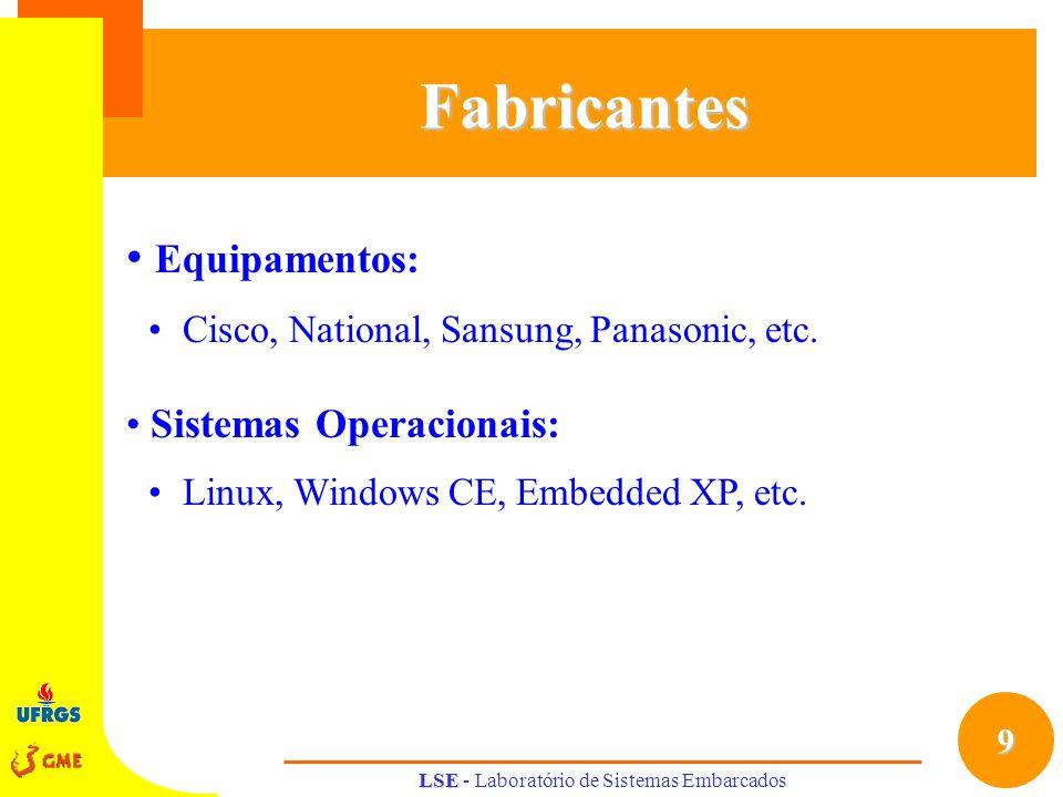 9 LSE LSE - Laboratório de Sistemas EmbarcadosFabricantes Equipamentos: Cisco, National, Sansung, Panasonic, etc. Sistemas Operacionais: Linux, Window