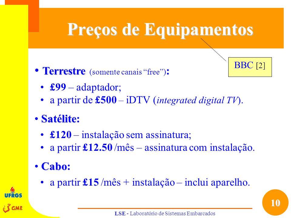 10 LSE LSE - Laboratório de Sistemas Embarcados Preços de Equipamentos Terrestre Terrestre (somente canais free) : £99 – adaptador; a partir de £500 –