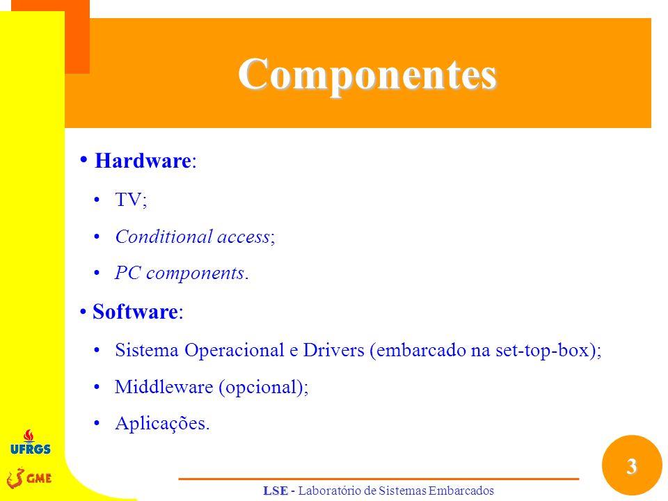 4 LSE LSE - Laboratório de Sistemas EmbarcadosCaracterísticas Componentes de HW : processador principal; processador DSP; RAM (64 a 128 MB); cartão de rede; módulo de controle remoto; HD (opcional); DVD Player (opcional); leitor de smart card (opcional).