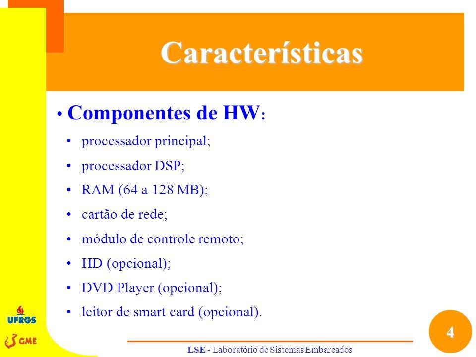 4 LSE LSE - Laboratório de Sistemas EmbarcadosCaracterísticas Componentes de HW : processador principal; processador DSP; RAM (64 a 128 MB); cartão de