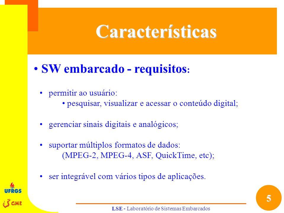 5 LSE LSE - Laboratório de Sistemas EmbarcadosCaracterísticas SW embarcado - requisitos : permitir ao usuário: pesquisar, visualizar e acessar o conte