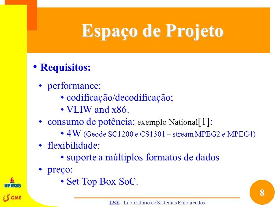 8 LSE LSE - Laboratório de Sistemas Embarcados Espaço de Projeto Requisitos: performance: codificação/decodificação; VLIW and x86. consumo de potência
