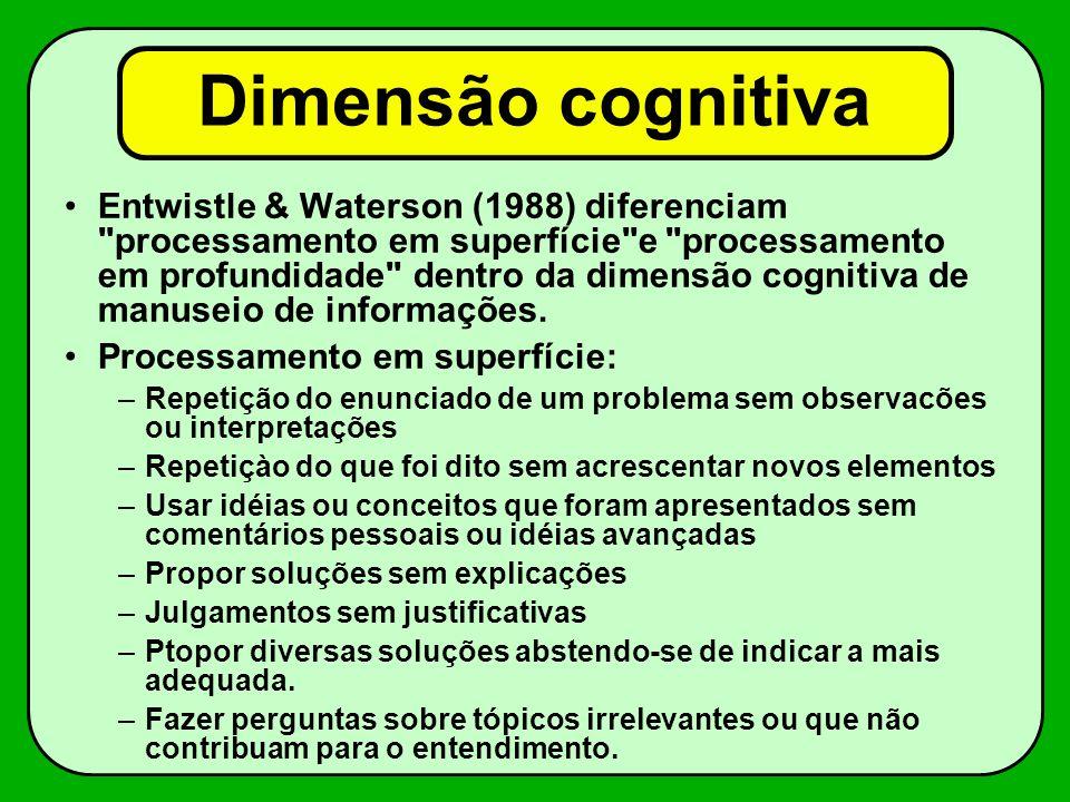 Dimensão cognitiva Entwistle & Waterson (1988) diferenciam